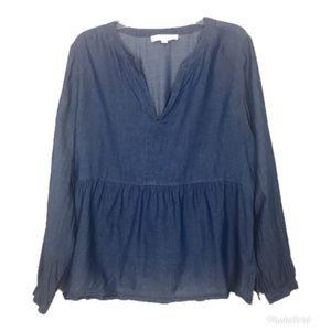 LOFT Blue Chambray Long Sleeve V-Neck Top L
